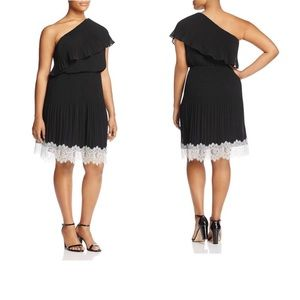 Michael Kors black pleated lace one shoulder dress